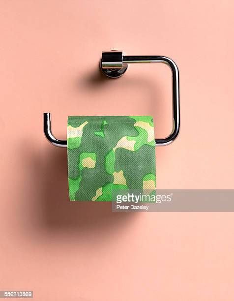 camouflage toilet paper - funny toilet paper stock pictures, royalty-free photos & images
