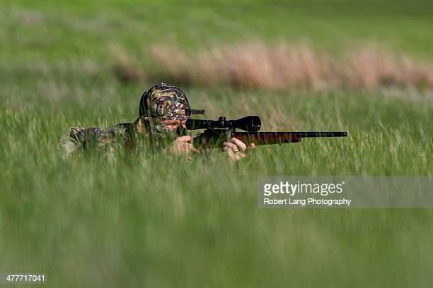 camouflaged hunter hiding in long tall grass - porto lincoln - fotografias e filmes do acervo