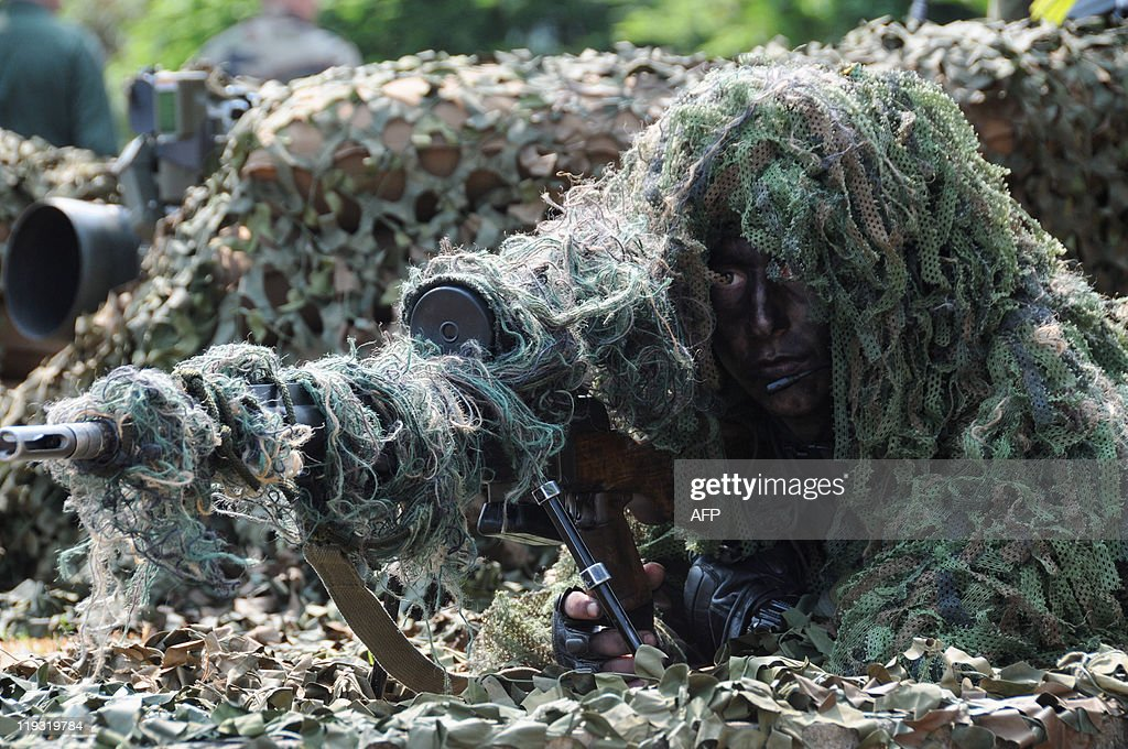 A camouflaged soldier from a french army pictures getty images