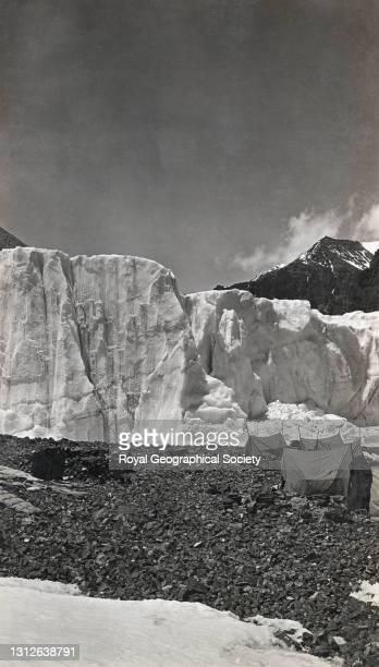 Camp 2, East Rongbuk Glacier. By Dr T.G. Longstaff. Mount Everest Expedition 1922.