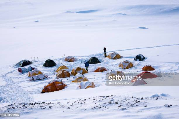 camp 2 of pik lenin, famous mountain in kyrgyzstan - base camp stock pictures, royalty-free photos & images