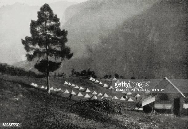Camp at 1900 metres of altitude in Cadore Veneto Italy World War I from L'Illustrazione Italiana Year XLII No 32 August 8 1915