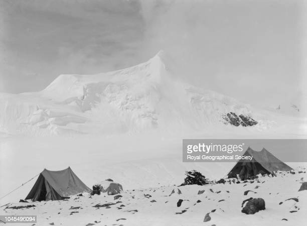 Camp at 20 000 feet in cloudy weather after snowfall Tibet China Mount Everest Expedition 1921