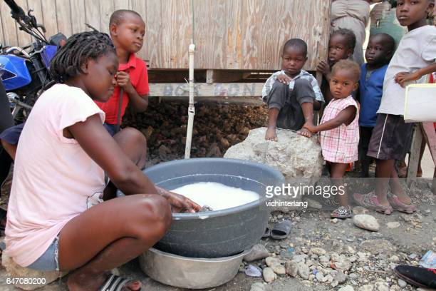 camp chavez, port-au-prince, haiti, february 24, 2017 - haiti stock pictures, royalty-free photos & images