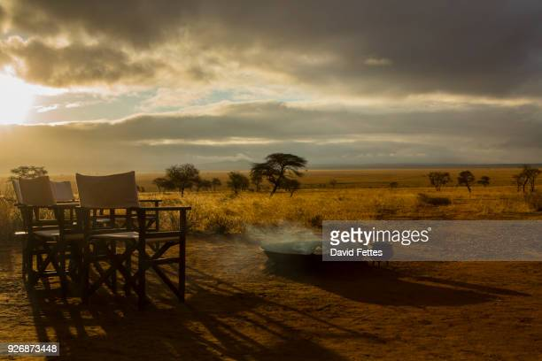 camp fire and chairs, tarangire national park, tanzania, africa - cadeira de diretor - fotografias e filmes do acervo