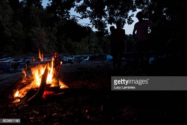 Camp fire at Suriname river