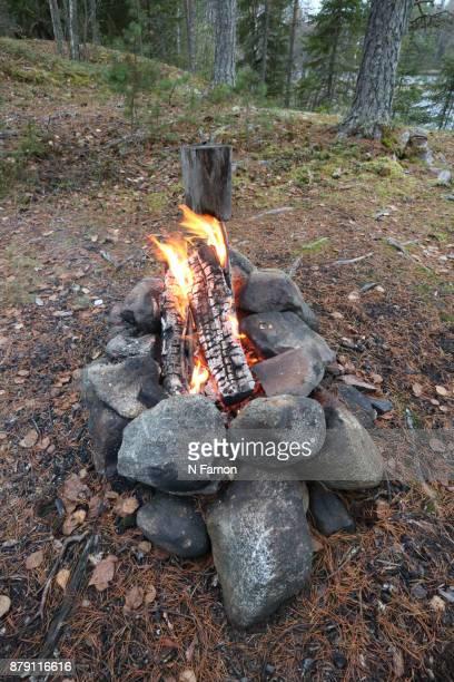 Camp fire in Finland
