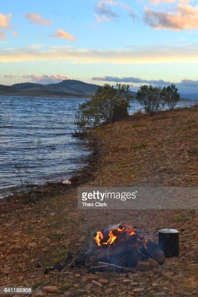 Camp fire on Lake Eucumbene, NSW