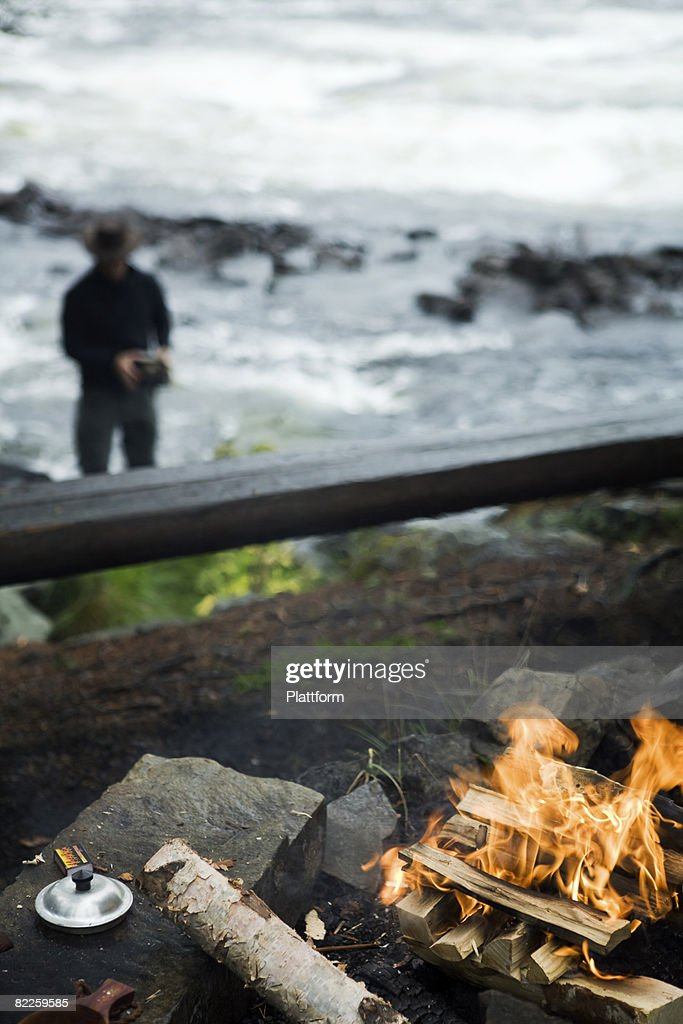 A camp fire Sweden. : Stock Photo
