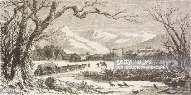 Camp Floyd, Utah, United States of America, drawing by Francois-Fortune Ferogio from a sketch by Stansbury, from The City of the Saints, among the...