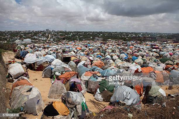 A camp for Internally Displaced Persons near the destroyed parliament building in central MogadishuThe camp houses people who have fled drought and...