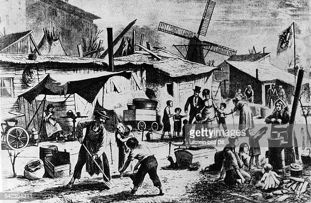 Camp for the poor in Berlin woodcarving of 1872
