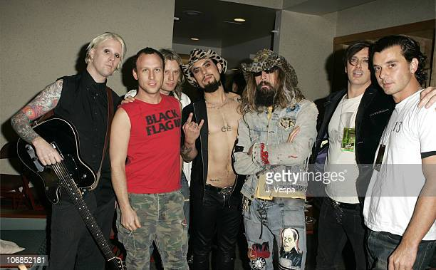 Camp Freddy with Rob Zombie and Gavin Rossdale during All Star 'Music For Relief Rebuilding South Asia' Benefit Concert Backstage at Arrowhead Pond...