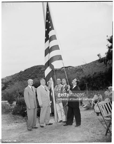 Camp Hess Kramer, 8 June 1952. Lieutenant Governor Goodwin Knight;Jose Gildred;Dewald M Baum;Harry A Mier;Rabbi Alfred Wolf.;Caption slip reads:...