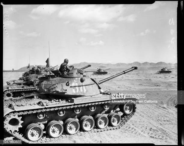 Camp Irwin tank layout 31 January 1956Caption slip reads 'Date Assignment US Army Camp Irwin All negs on Camp Irwin Tank layout give to Riblett...