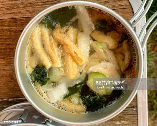 camp meals, miso soup - aburaage stock pictures, royalty-free photos & images