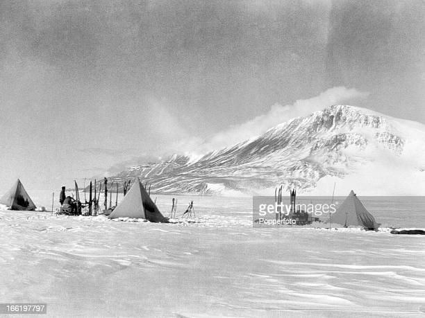 Camp near the Cloudmaker on the Beardmore Glacier taken during the last tragic voyage to Antarctica by Captain Robert Falcon Scott and his crew among...