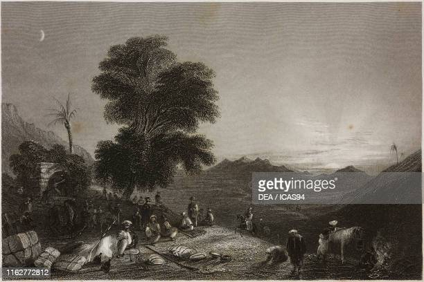 Camp of a caravan in the desert of Girgola near Amanus or Nur Mountains Turkey engraving by W Hill after a drawing by W H Bartlett from La Siria e...