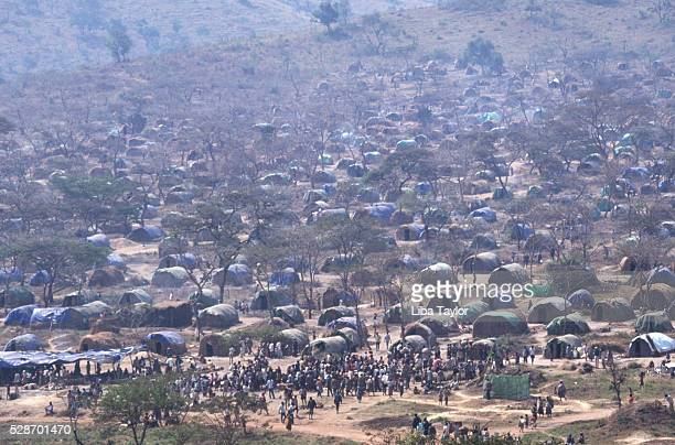 camp of hutu refugees in tanzania - refugee camp stock pictures, royalty-free photos & images