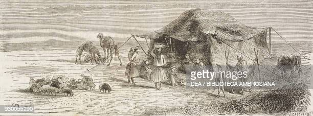 Camp of Illiati tribe from Varamin plain, Iran, drawing by Duhousset, from Hunting in Persia by Emile Duhousset , from Il Giro del mondo , Journal of...