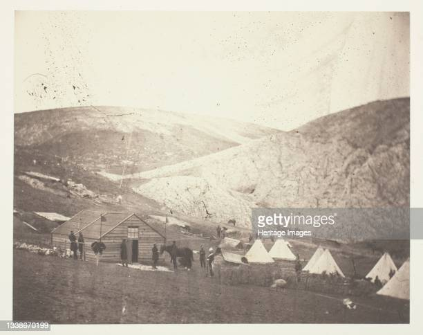 Camp of the 4th Dragoon Guards, near Karyni, 1855. A work made of salted paper print, from the album 'photographic pictures of the seat of war in the...