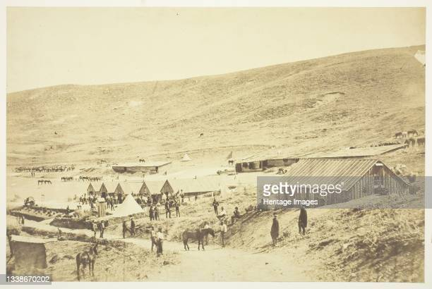 Camp of the 4th Light Dragoons, 1855. A work made of salted paper print, from the album 'photographic pictures of the seat of war in the crimea' ....