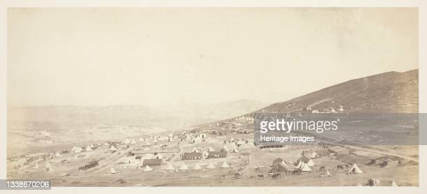 Camp of the 4th Light Dragoons, Officer's Quarters, 1855. A work made of salted paper print, from the album 'photographic pictures of the seat of war...
