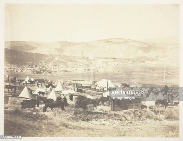 Camp of the 5th Dragoon Guards, 1855. A work made of salted paper print, from the album 'photographic pictures of the seat of war in the crimea' ....