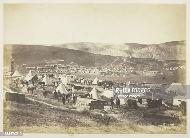 Camp of the 5th Dragoon Guards, 1855. A work made of salted paper print, plate 14 from the album 'photographs taken in the crimea' . Artist Roger...