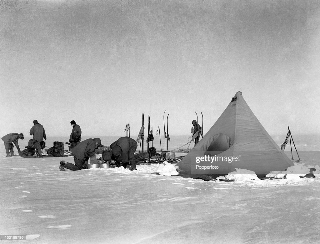 Camp on the polar march taken during the last, tragic voyage to Antarctica by Captain Robert Falcon Scott and his crew, among them Lieutenant Henry Robertson (Birdie) Bowers who took this photograph, circa December 1911. Bowers and Scott were both tutored by Herbert Ponting, the renowned photographer who was the camera artist to the expedition, which enabled them to take their own memorable pictures before perishing on their return from the South Pole on or after 29th March 1912.