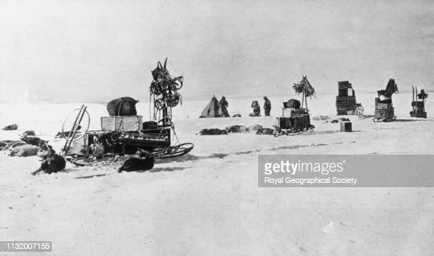 Camp on the way to the South Pole Norwegian Antarctic Expedition 19101912 1911 Artist Roald Amundsen