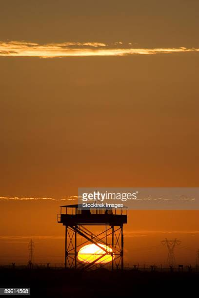camp speicher, iraq - guard tower at sunset. - tikrit stock pictures, royalty-free photos & images