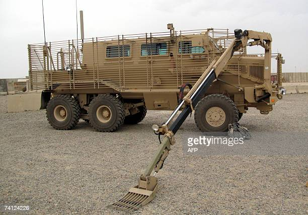 TO GO WITH AFP STORY BY OLIVIER KNOX A picture taken 10 May 2007 in the US base Camp Speicher near Tikrit in Iraq shows Buffalo a 45000pound...