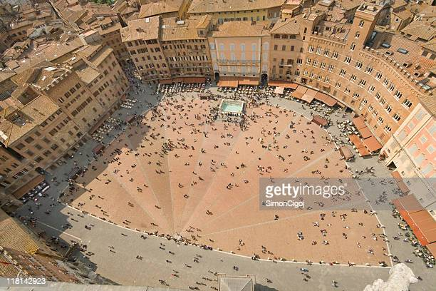 piazza del campo - siena italy stock photos and pictures