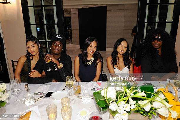 K Camp ThuyAnh J Nguyen Karrueche Tran and EJ Kings attend the RapUp PreBET awards dinner presented by Hennessy at Hotel BelAir on June 21 2016 in...