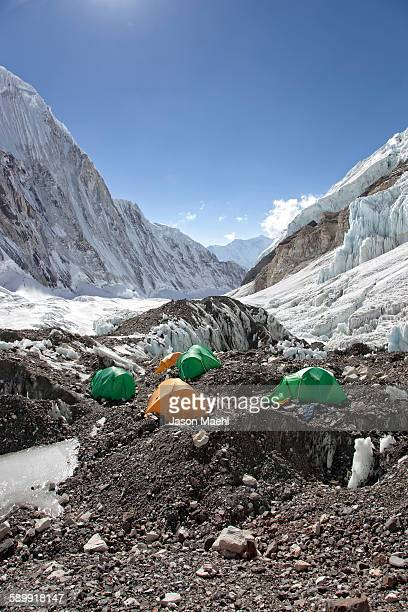 Camp two tents on Mt Everest