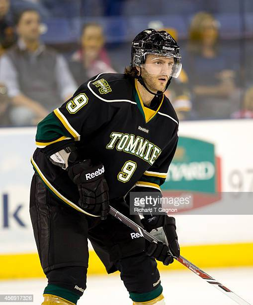 Campagna of the St. Thomas University Tommies skates against the Massachusetts Lowell River Hawks during NCAA exhibition hockey at the Tsongas Center...