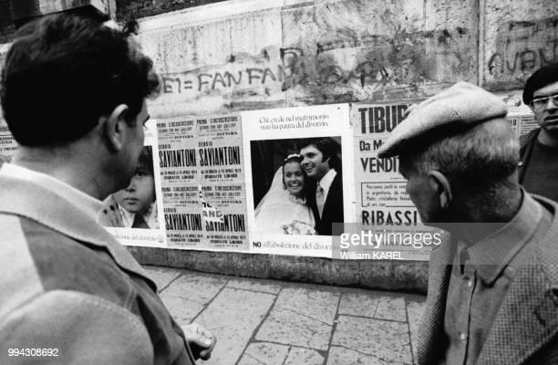 Campagne du référendum pour l'abrogation de la Loi Fortuna instaurant le divorce, en avril 1974, en Italie.