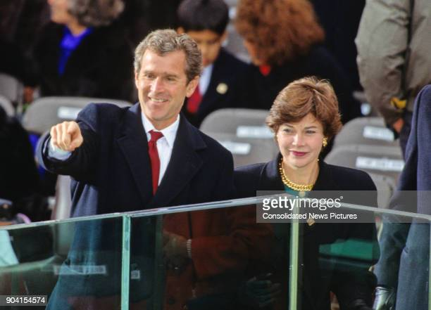Campaign advisor George W Bush points from the podium at his father's Presidential Inauguration ceremony at the US Capitol, Washington DC, January...