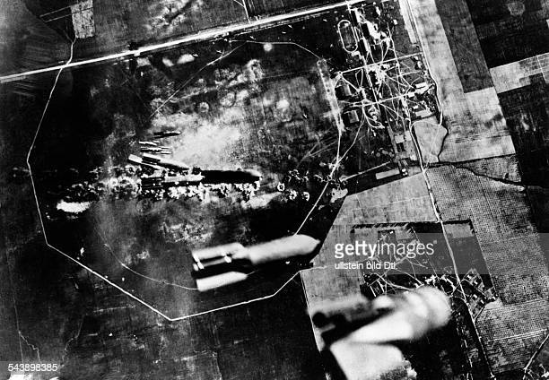 2WW Campaign against soviet union /eastern front Theater of war German bombers attacking a russian airfield bomb droppingsummer 1941 No further...