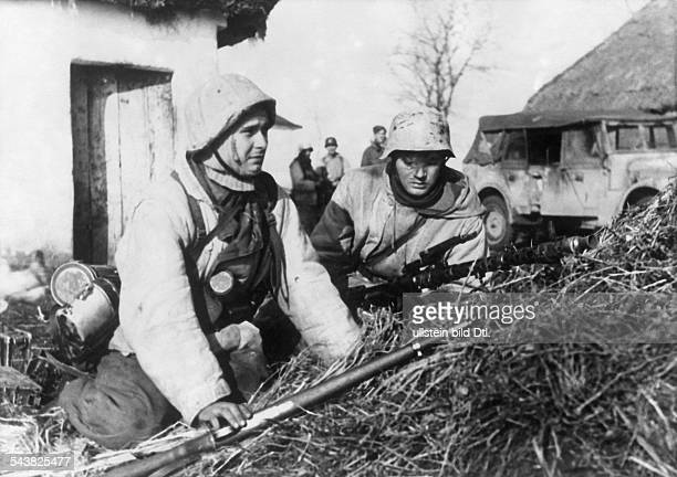 2WW campaign against soviet union /eastern fronttheater of war WaffenSS Combats in the region southwest of Pogrebishtshe A position of WaffenSS...