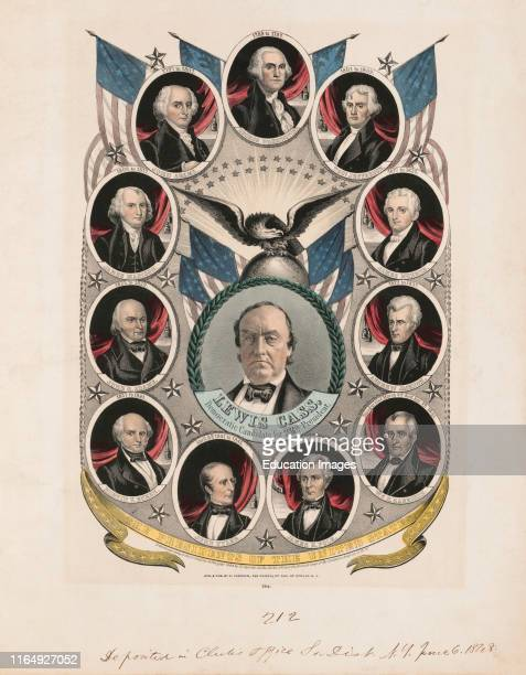 Campaign Banner for Lewis Cass Democratic Candidate for 12th President Lithograph Nathaniel Currier 1848