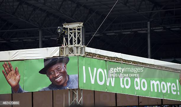 A campaign banner of Nigerian President and presidential candidate of the ruling People's Democratic Party Goodluck Jonathan is displayed during a...