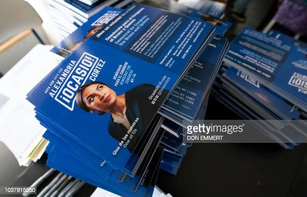 Campaign brochures about democratic congressional candidate Alexandria OcasioCortez are on hand for her general campaign kickoff rally on September...