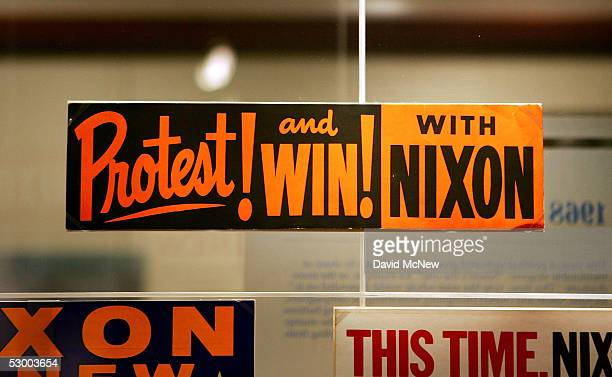 A campaign bumper sticker for President Richard Nixon from an era of social unrest in the United States is seen at the Richard Nixon Library...