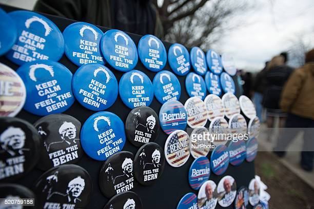 Campaign buttons are for sale before a campaign rally for Democratic Party presidential candidate Bernie Sanders outside the On Center in Syracuse NY...