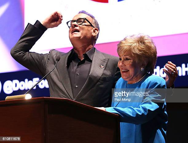 Campaign Chair Tom Hanks and Sen Elizabeth Dole attend the launch of the Elizabeth Dole Foundation's Hidden Heroes campaign at US Capitol Visitor...