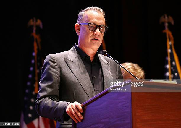 Campaign Chair Tom Hanks speaks at the launch of the Elizabeth Dole Foundation's Hidden Heroes campaign at US Capitol Visitor Center on September 27...