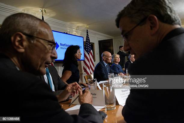 Campaign Chairman John Podesta Juliette Kayyem Former Homeland Security Secretary Michael Chertoff Daniel Benjamin and others join US Democratic...