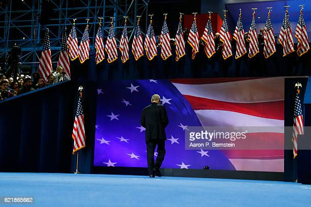 Campaign chairman John Podesta leaves the stage after speaking at Democratic presidential nominee former Secretary of State Hillary Clinton election...